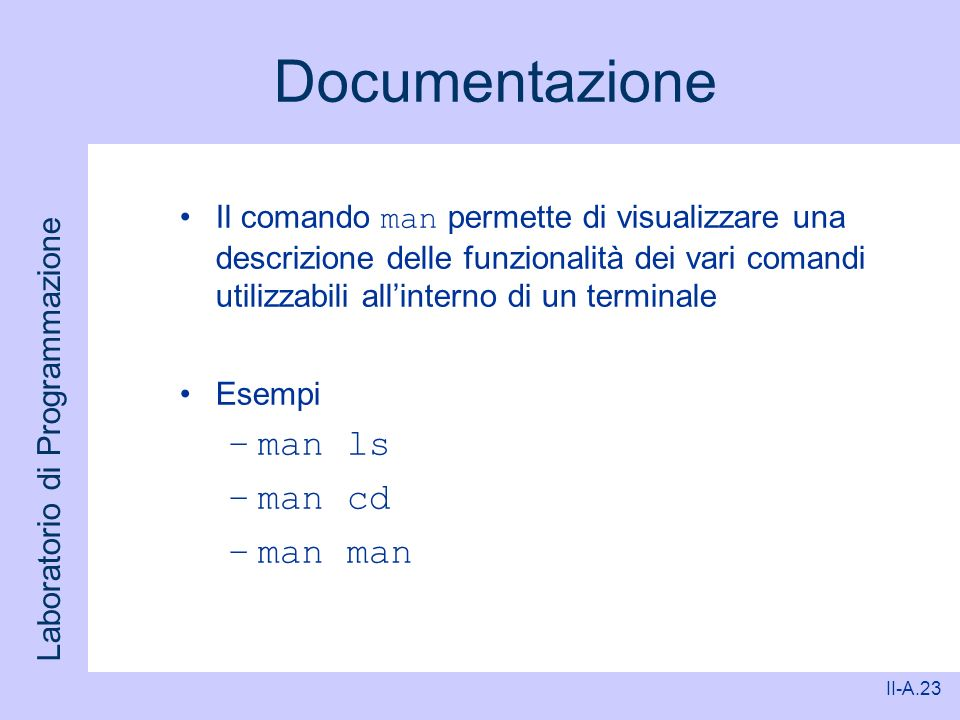 Documentazione man ls man cd man man