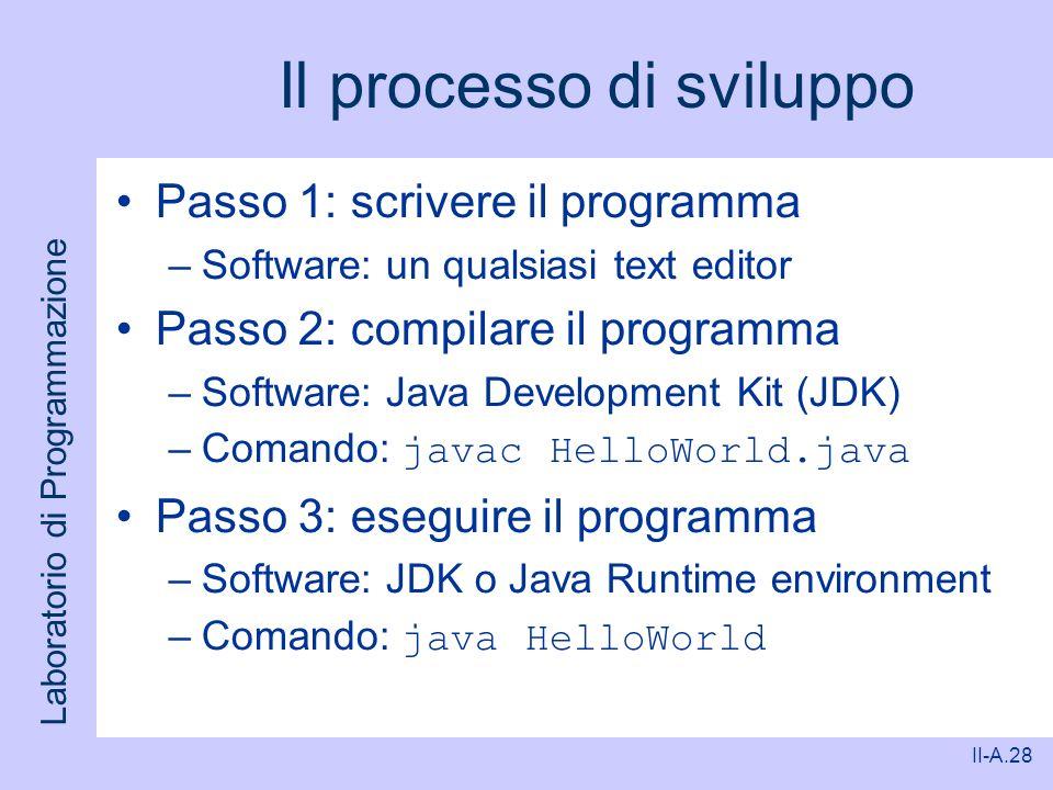 Il processo di sviluppo