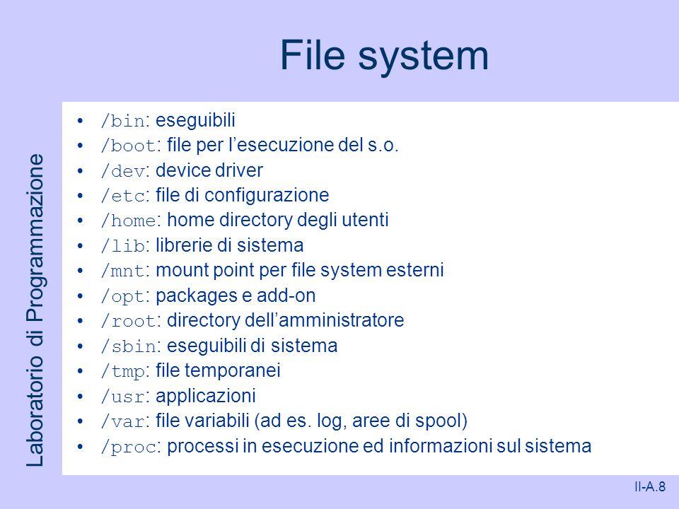 File system /bin: eseguibili /boot: file per l'esecuzione del s.o.