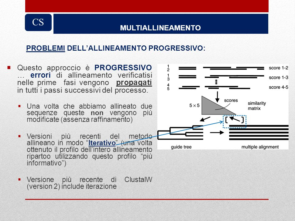 CS MULTIALLINEAMENTO. PROBLEMI DELL'ALLINEAMENTO PROGRESSIVO: