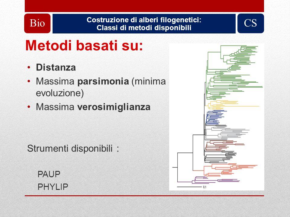Costruzione di alberi filogenetici: Classi di metodi disponibili