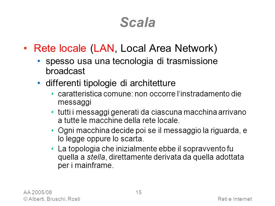 Scala Rete locale (LAN, Local Area Network)