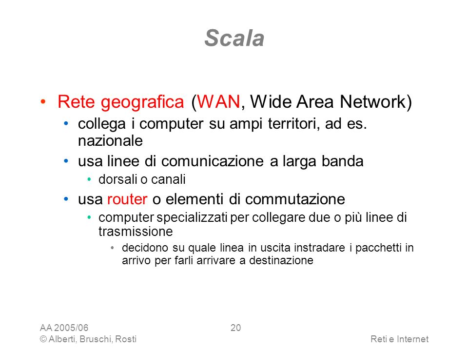 Scala Rete geografica (WAN, Wide Area Network)