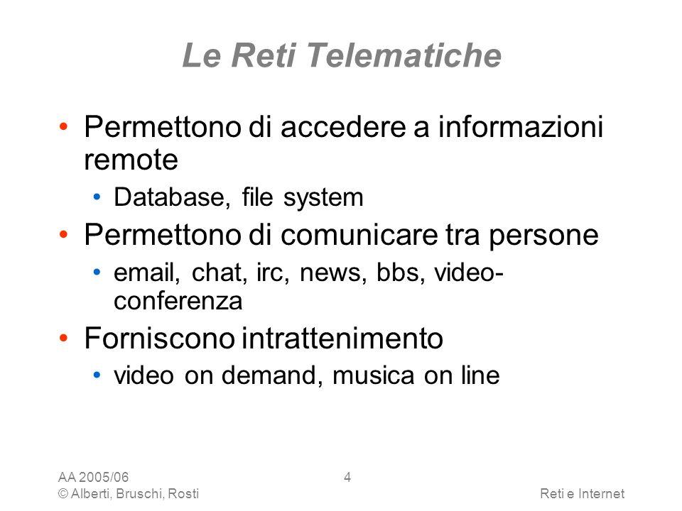 Le Reti Telematiche Permettono di accedere a informazioni remote