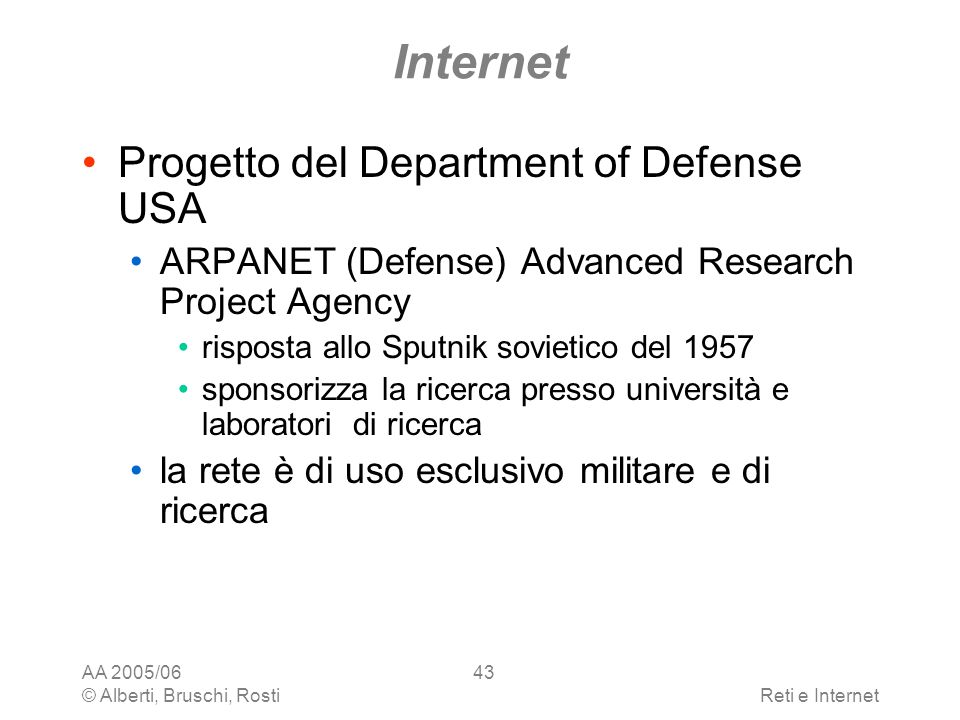 Internet Progetto del Department of Defense USA