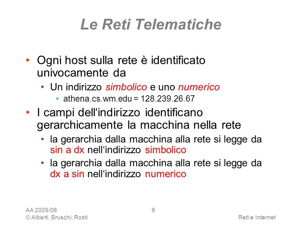 Le Reti Telematiche Ogni host sulla rete è identificato univocamente da. Un indirizzo simbolico e uno numerico.