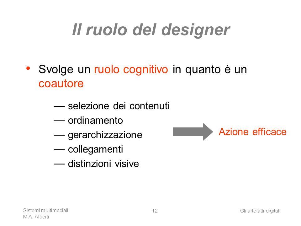 Il ruolo del designer Svolge un ruolo cognitivo in quanto è un coautore. selezione dei contenuti. ordinamento.
