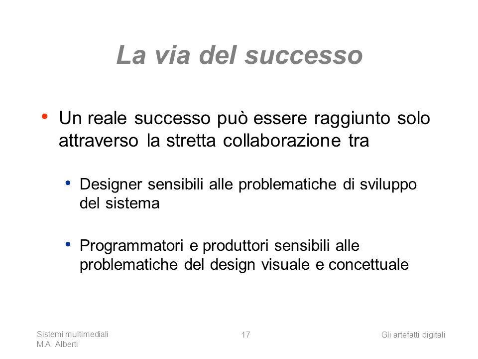 La via del successo Un reale successo può essere raggiunto solo attraverso la stretta collaborazione tra.