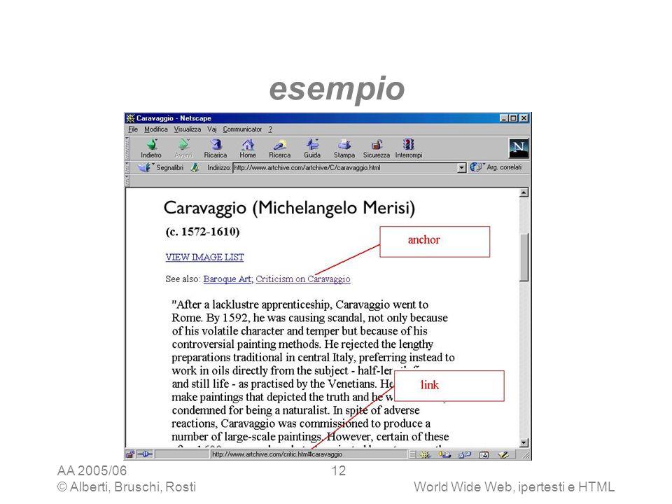 esempio AA 2005/06 © Alberti, Bruschi, Rosti