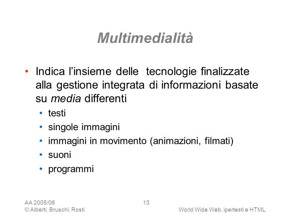 Multimedialità Indica l'insieme delle tecnologie finalizzate alla gestione integrata di informazioni basate su media differenti.
