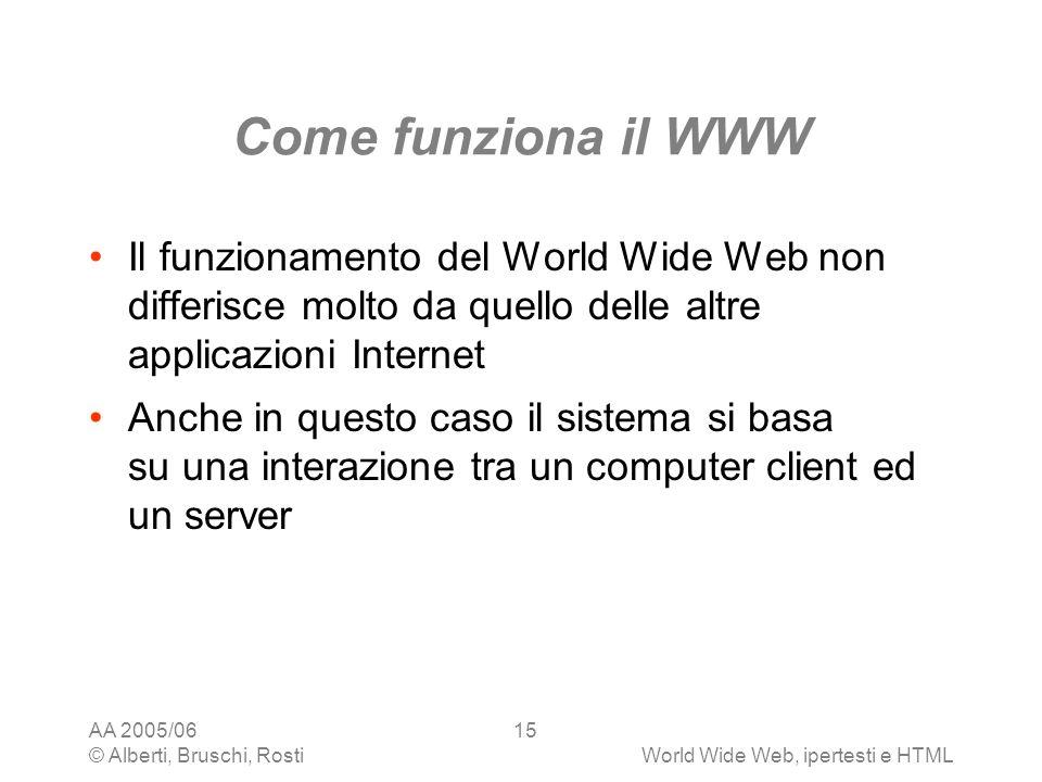 Come funziona il WWW Il funzionamento del World Wide Web non differisce molto da quello delle altre applicazioni Internet.
