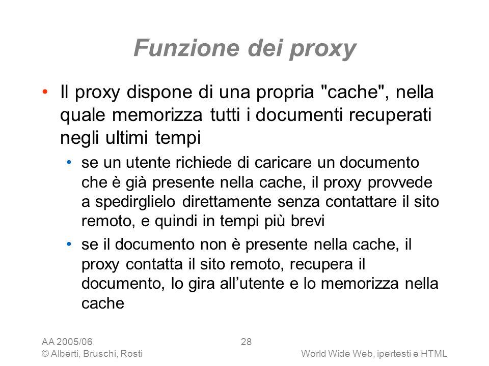 Funzione dei proxy Il proxy dispone di una propria cache , nella quale memorizza tutti i documenti recuperati negli ultimi tempi.