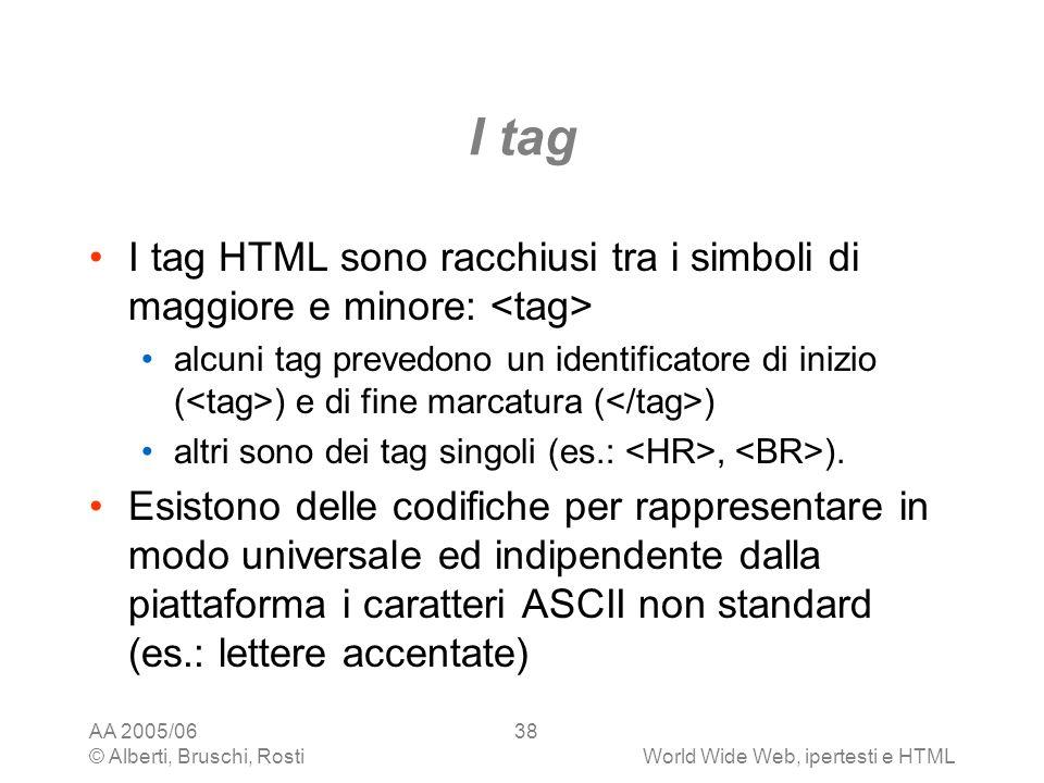 I tag I tag HTML sono racchiusi tra i simboli di maggiore e minore: <tag>