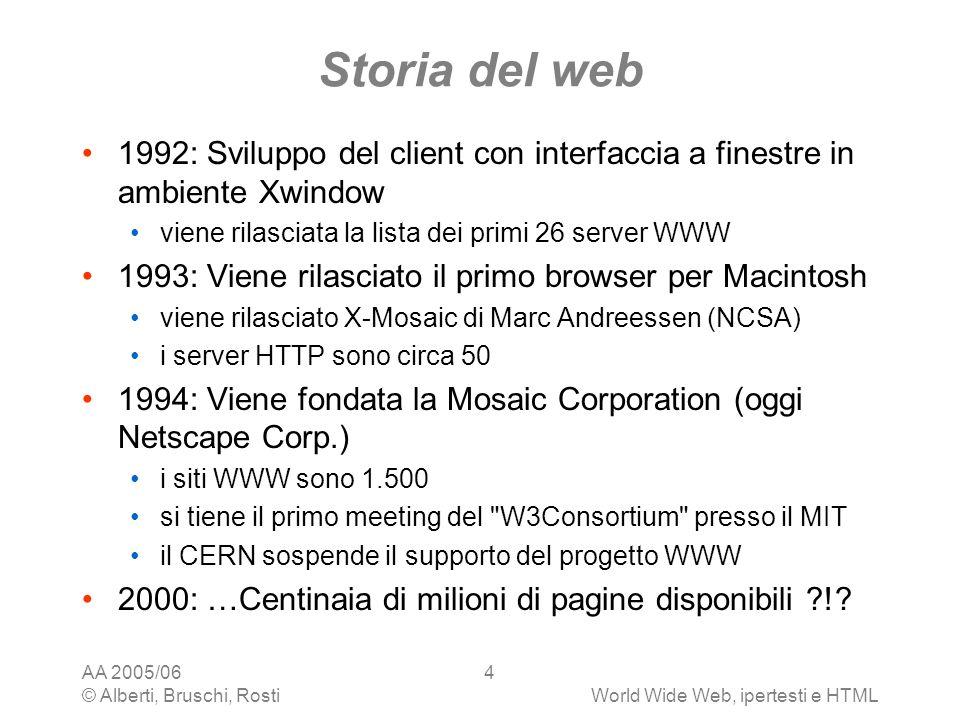Storia del web 1992: Sviluppo del client con interfaccia a finestre in ambiente Xwindow. viene rilasciata la lista dei primi 26 server WWW.