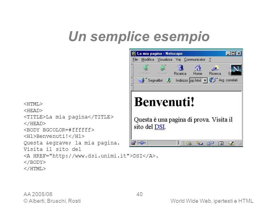 Un semplice esempio <HTML> <HEAD>