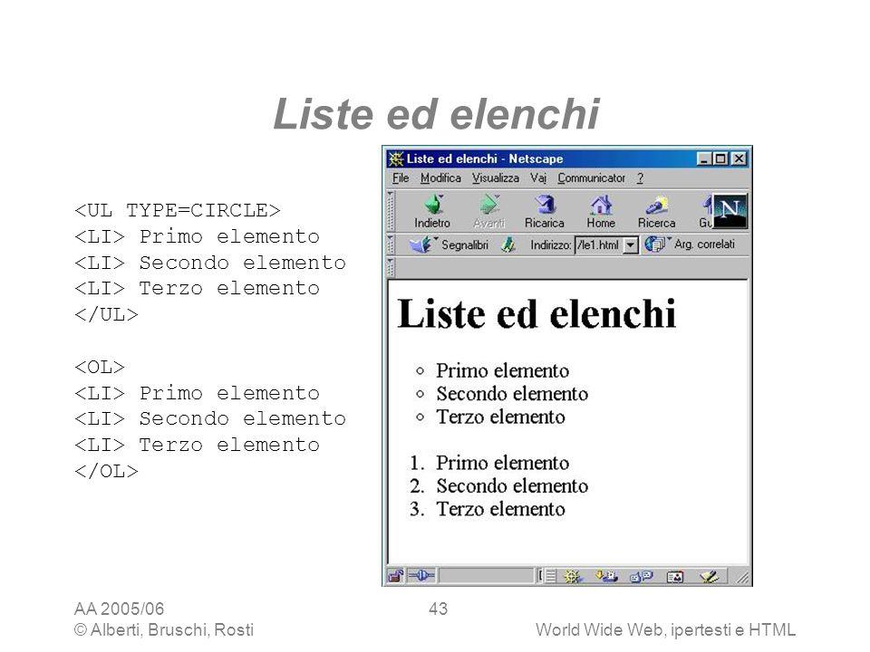 Liste ed elenchi <UL TYPE=CIRCLE> <LI> Primo elemento