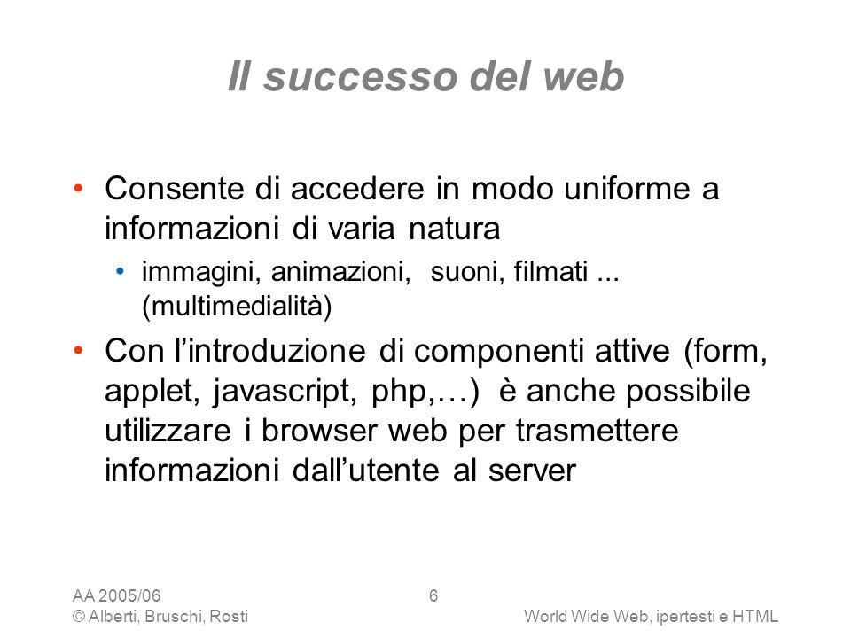 Il successo del web Consente di accedere in modo uniforme a informazioni di varia natura. immagini, animazioni, suoni, filmati ... (multimedialità)