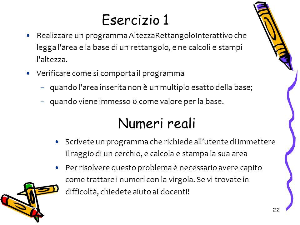 Esercizio 1 Numeri reali