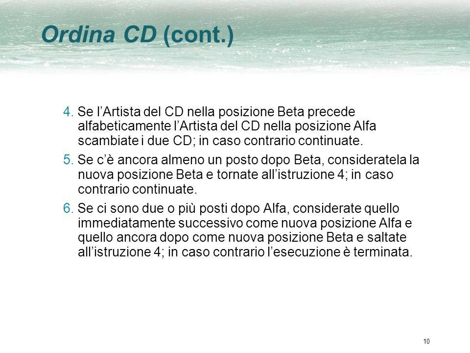 Ordina CD (cont.)