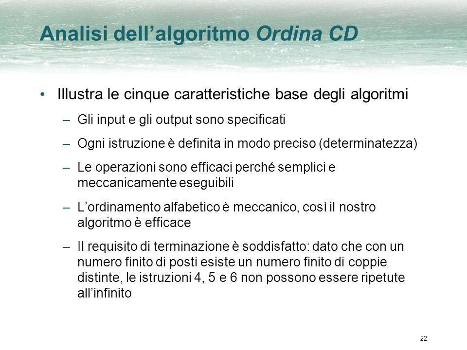 Analisi dell'algoritmo Ordina CD