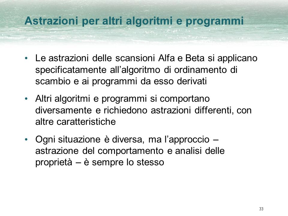 Astrazioni per altri algoritmi e programmi