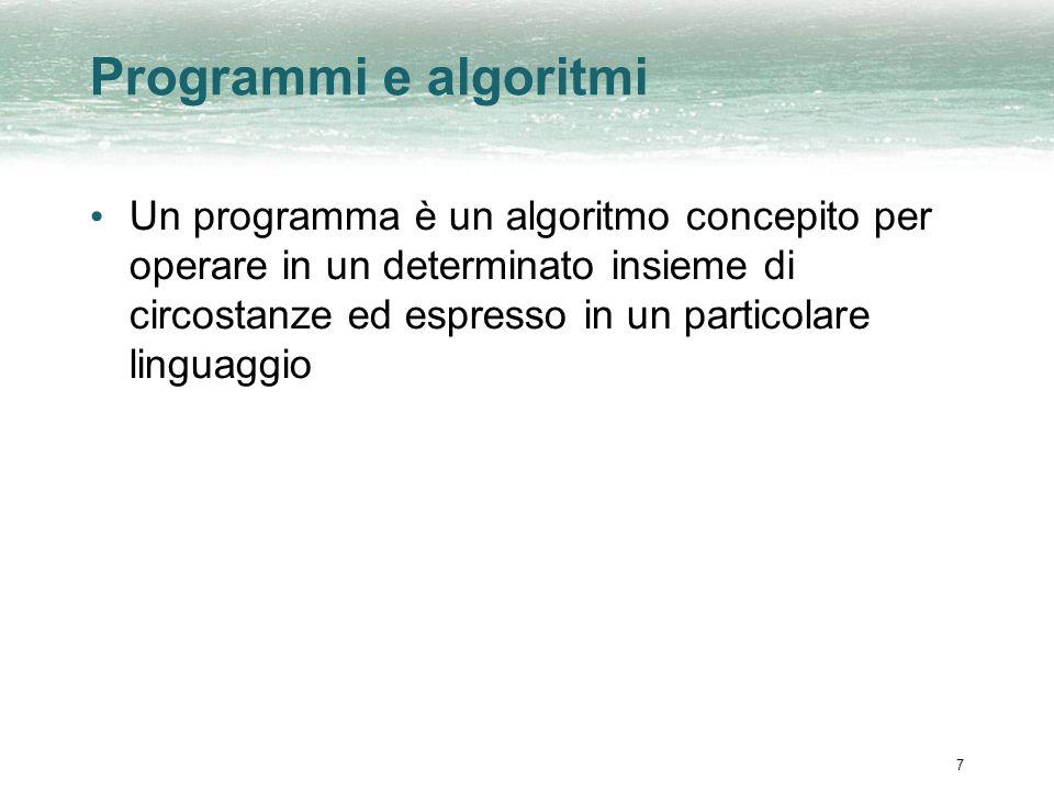 Programmi e algoritmi