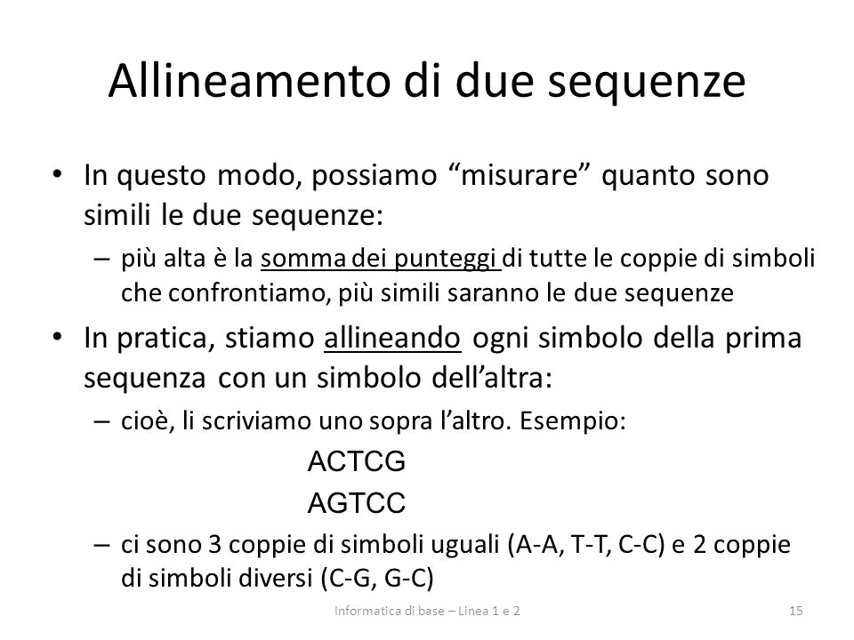 Allineamento di due sequenze