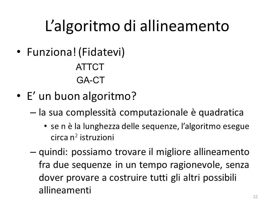 L'algoritmo di allineamento