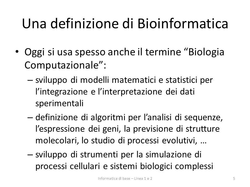 Una definizione di Bioinformatica