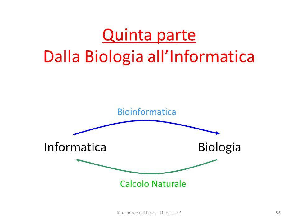 Quinta parte Dalla Biologia all'Informatica