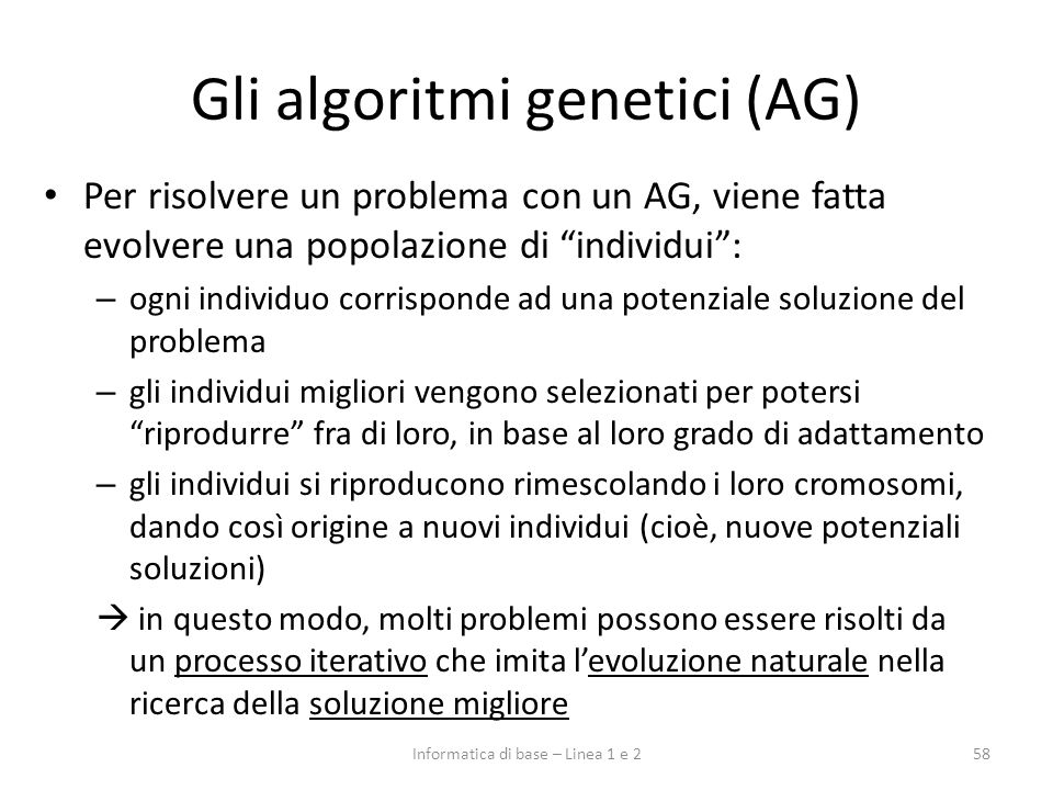 Gli algoritmi genetici (AG)