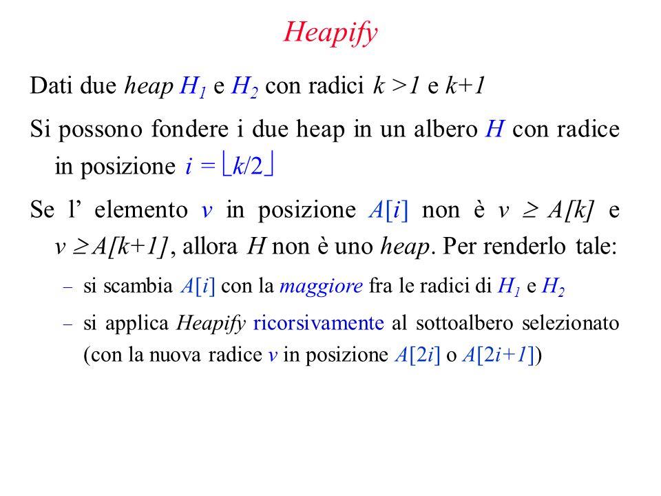 Heapify Dati due heap H1 e H2 con radici k >1 e k+1