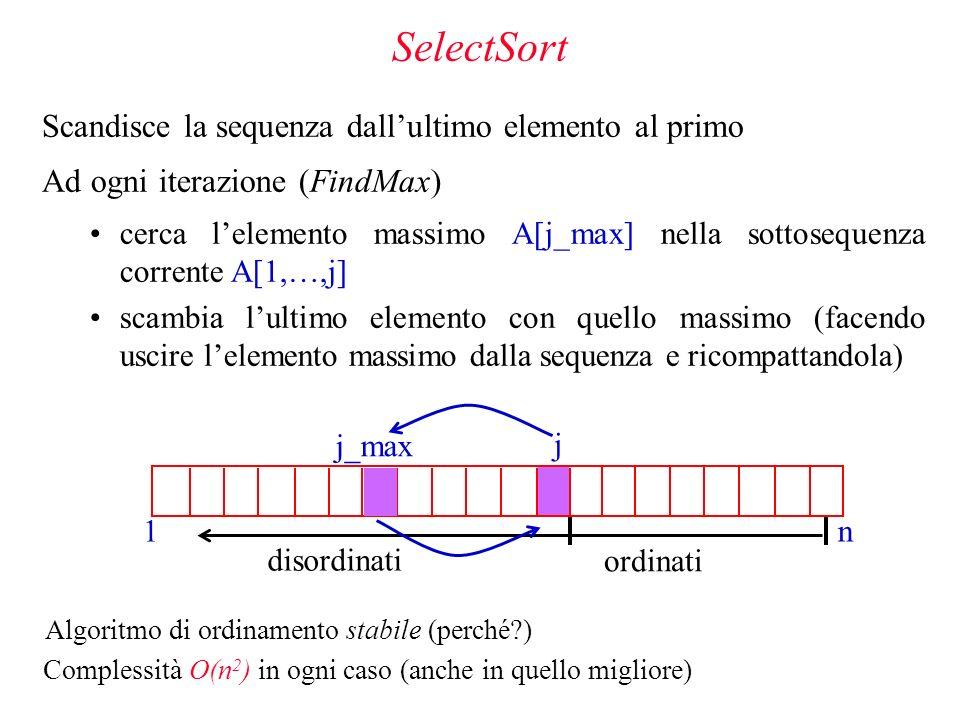 SelectSort Scandisce la sequenza dall'ultimo elemento al primo