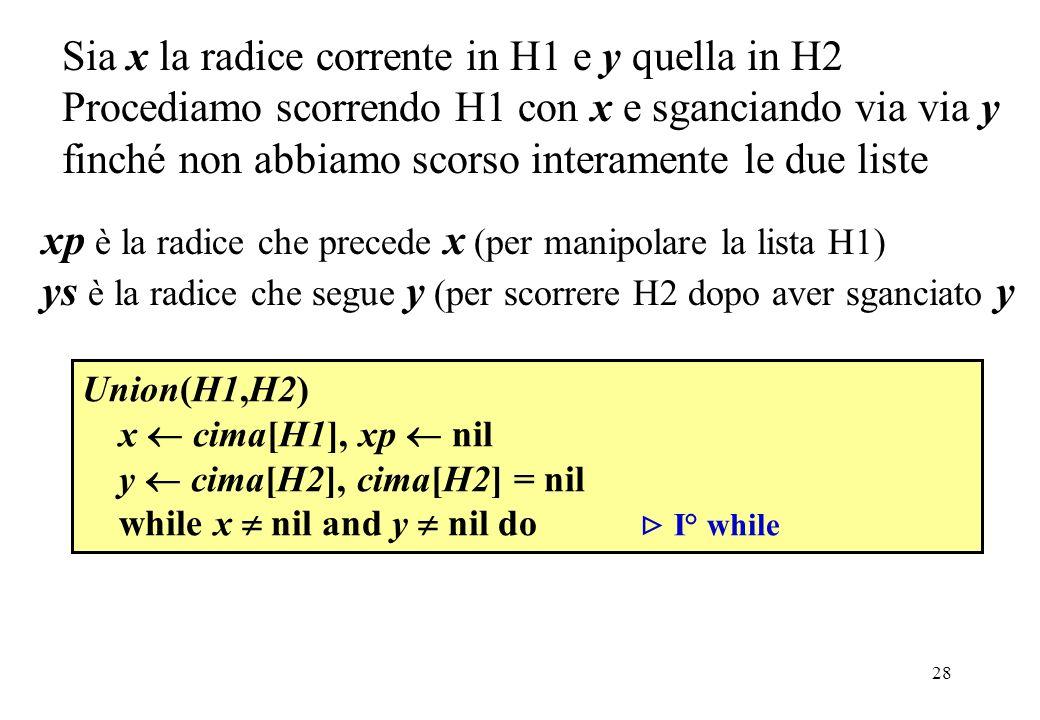 Sia x la radice corrente in H1 e y quella in H2