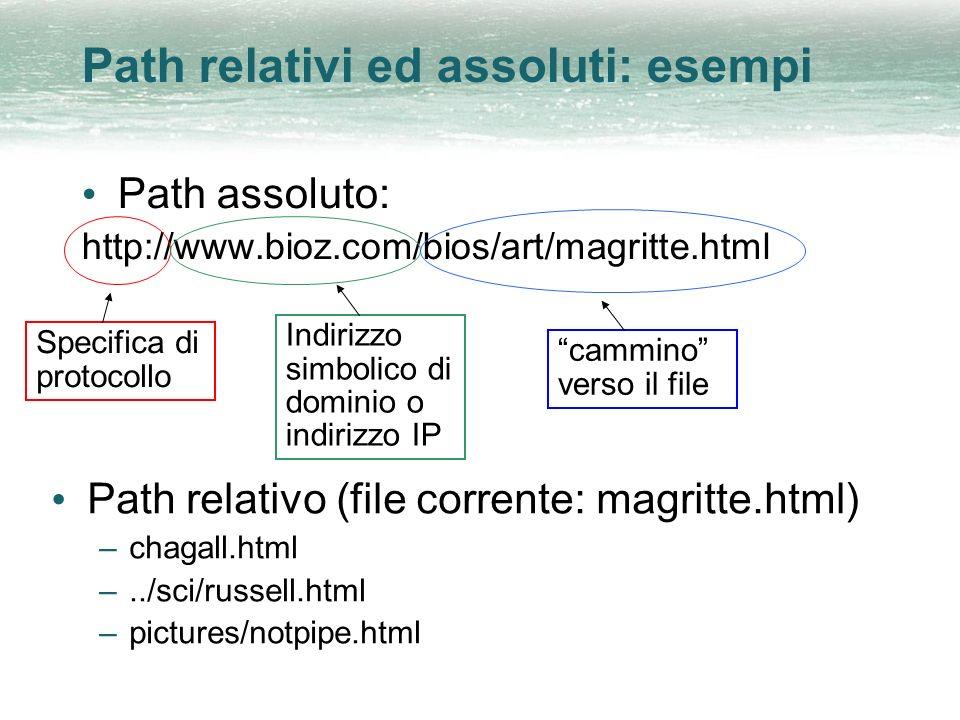 Path relativi ed assoluti: esempi