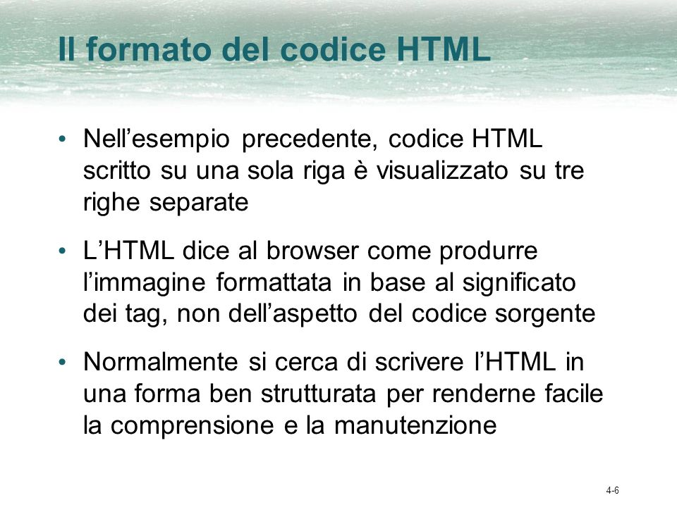 Il formato del codice HTML