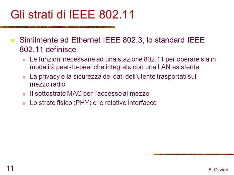 Gli strati di IEEE 802.11 Similmente ad Ethernet IEEE 802.3, lo standard IEEE 802.11 definisce.