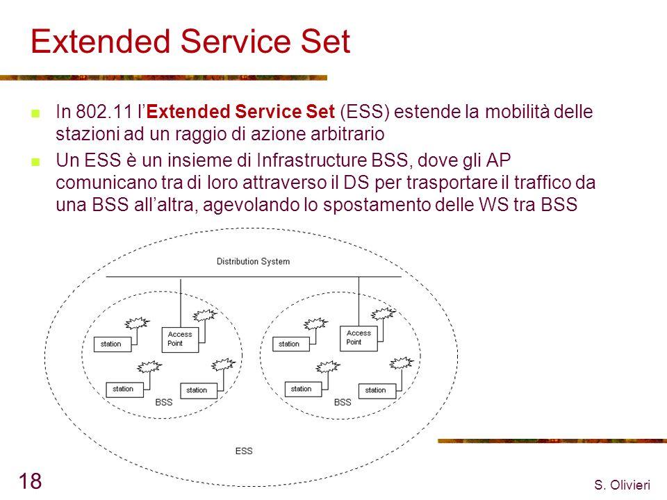 Extended Service Set In 802.11 l'Extended Service Set (ESS) estende la mobilità delle stazioni ad un raggio di azione arbitrario.
