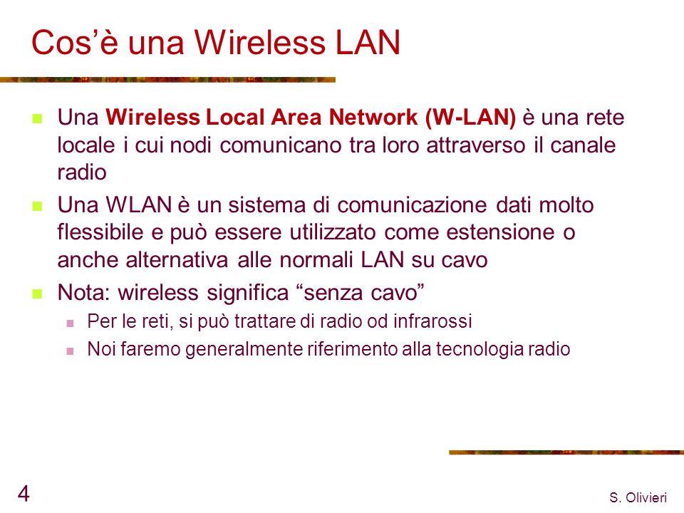 Cos'è una Wireless LAN Una Wireless Local Area Network (W-LAN) è una rete locale i cui nodi comunicano tra loro attraverso il canale radio.