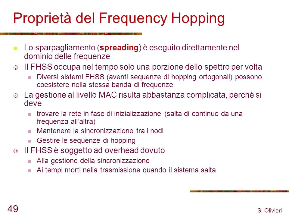 Proprietà del Frequency Hopping
