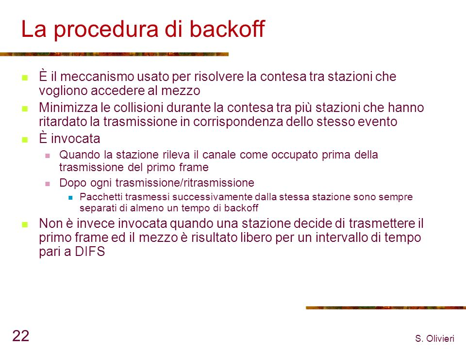 La procedura di backoff