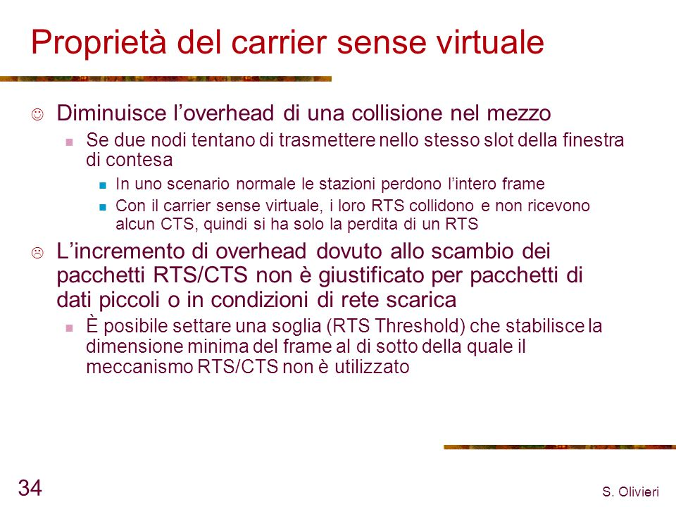 Proprietà del carrier sense virtuale