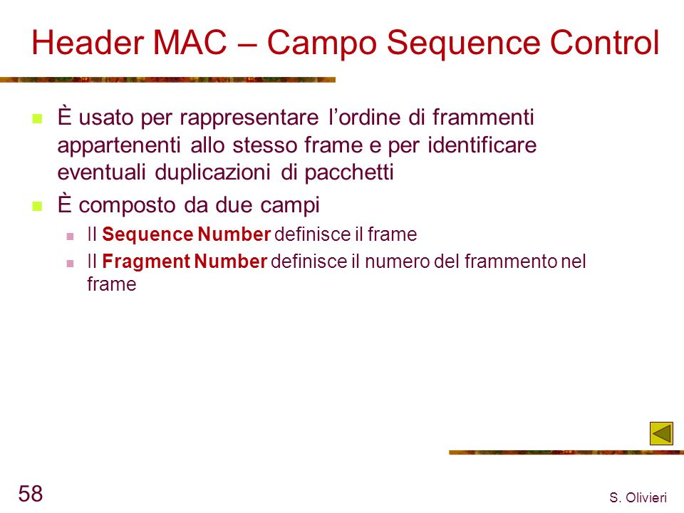 Header MAC – Campo Sequence Control