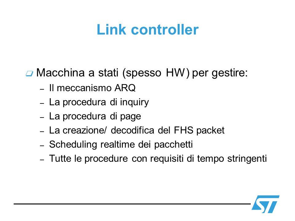 Link controller Macchina a stati (spesso HW) per gestire: