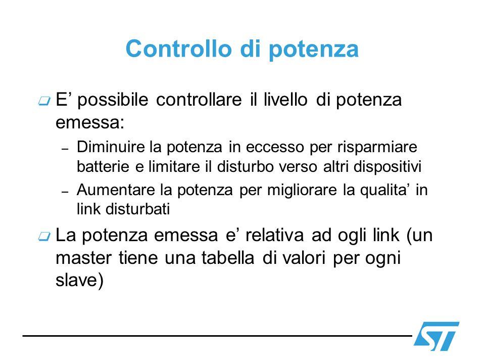 Controllo di potenza E' possibile controllare il livello di potenza emessa: