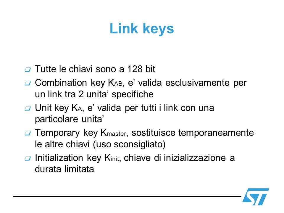 Link keys Tutte le chiavi sono a 128 bit