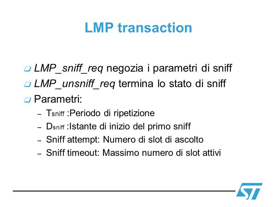 LMP transaction LMP_sniff_req negozia i parametri di sniff