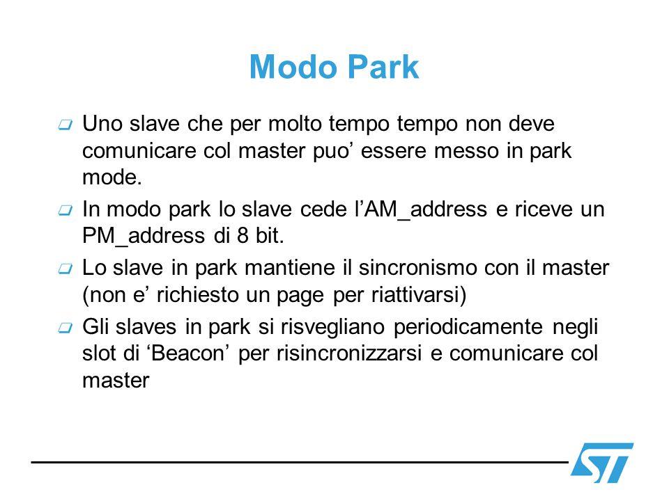 Modo Park Uno slave che per molto tempo tempo non deve comunicare col master puo' essere messo in park mode.