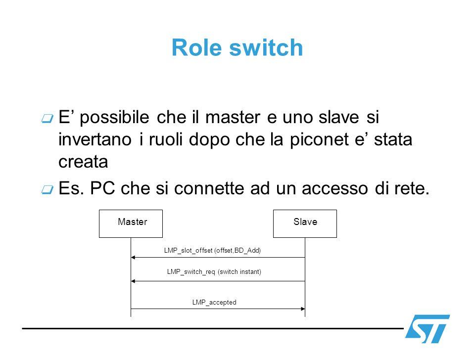 Role switch E' possibile che il master e uno slave si invertano i ruoli dopo che la piconet e' stata creata.