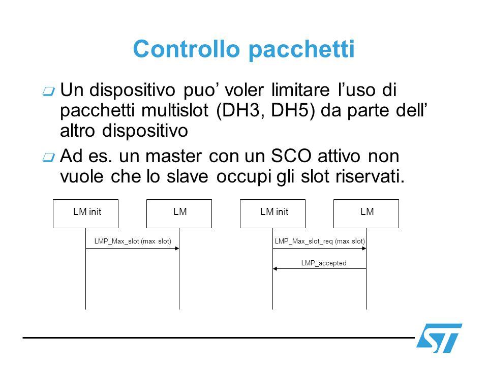 Controllo pacchetti Un dispositivo puo' voler limitare l'uso di pacchetti multislot (DH3, DH5) da parte dell' altro dispositivo.